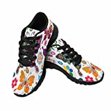 Cheap InterestPrint Women's Cross Trainer Trail Running Shoes Jogging Lightweight Walking Athletic Sneakers Spring White Floral Pattern With colorful Butterflies 11 B(M) US