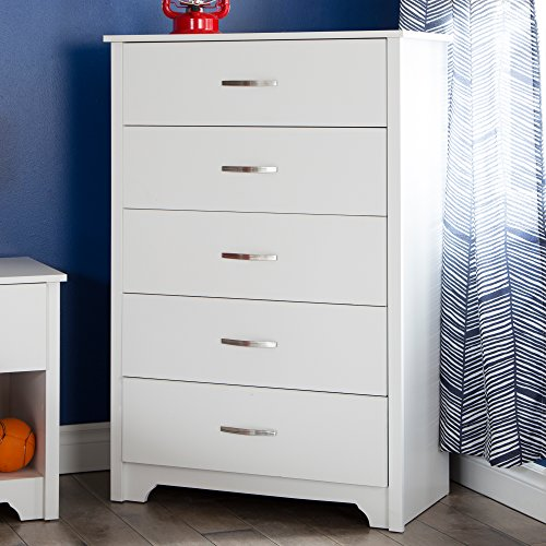 South Shore Fusion 5-Drawer Chest, Pure White (Tall Bedroom Dresser)
