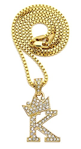 Out Initial Letter - Crown Iced Out King Small Initial Letter Pendant with 24