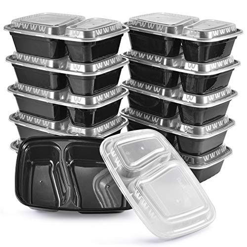 Meal Prep Containers, 10Pack | 34oz, 2 Compartm...