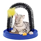 okdeals Multi-Use Cat Scratch and Groom Pad with Self Grooming Arched Brush,Free Captin,Hanging Mouse Toy,Captive Ball,Detachable Cardboard Cat Scratcher,Interactive Kitten Toys