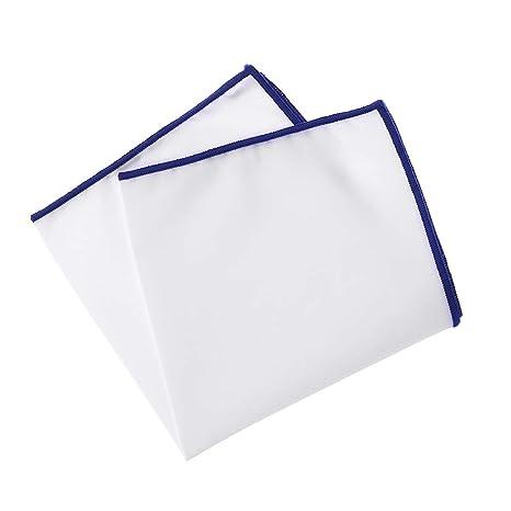 chenpaif Hombre Pañuelo de Bolsillo de algodón Pañuelo Blanco con Borde de Color Toalla de Hombre de Pecho