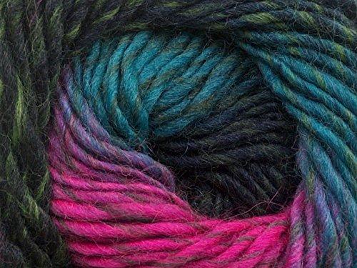 (1) 50 Gram Marvelous Pure Wool Self-Striping Feltable Yarn - Teal-Blues, Fuchsia-Pinks, - Teal Wool Yarn