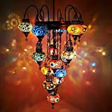 Truly Unique Turkish Morrocan Lamp Ottoman Glass Mosaic Chandelier 17 Bulb + Free Bulbs - MC 17 in 1 Chand
