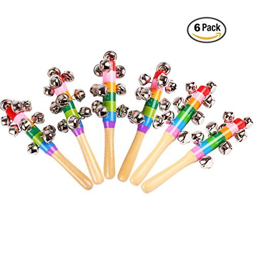 6 Pcs Vivid Color Rainbow Handle Wooden Bells Jingle Stick Shaker Rattle Baby Kids Children Musical Toys CiCy