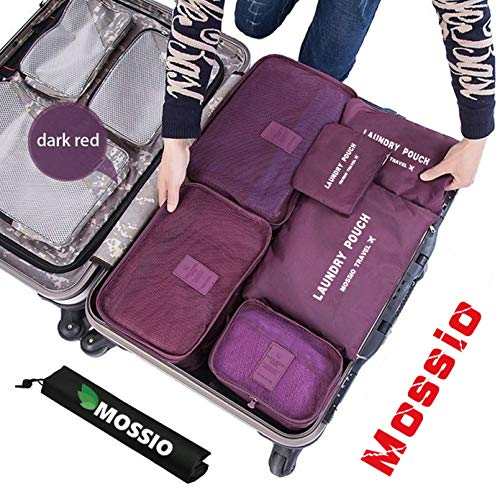 Travel Organizer,Mossio Multifunctional Compact Clothing Packing Cube Wine Red (All Match Clear Travel Bag)