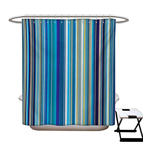 (Blue Shower Curtains Waterproof Vertical Stripes Repeating Retro Revival Pattern Funky Abstract Composition Fabric Bathroom Decor Set with Hooks W69 x L75 Mustard Blue White)