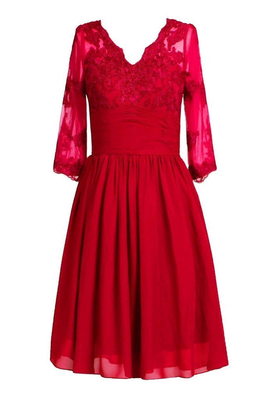 Promworld Women's Knee Length V Neck Mother of the Bride Dress
