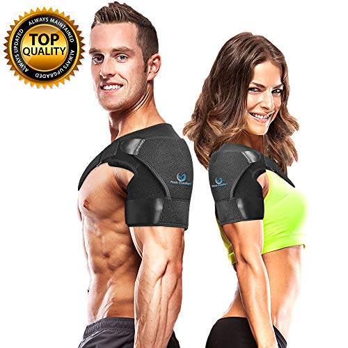 - Shoulder Support Stability Brace - Flexible & Adjustable Straps - Lightweight, Breathable, Anti-Sweat Material- Gives Support and Compression for Dislocated AC Joint, Arm Pain, Ect. One Size Fits Most