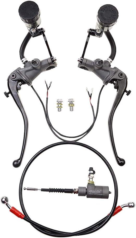 Goofit Schwarz 22mm 7 8 Mit Schalter Universal Motorrad Modifizierte Hydraulische Bremse Master Zylinder Hydraulikpumpe Kupplungshebel Set Mit Fluid Reservoirs Baumarkt