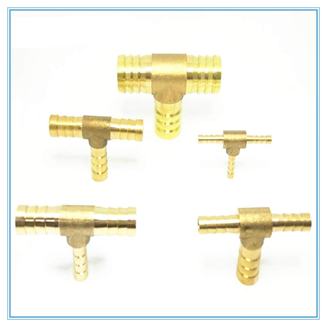 Maslin Brass Splicer Pipe Fitting T Shape 3 Way Hose Barb 4 6 8 10 12 16mm Copper Barbed Connector Joint Air Water Oil Coupler Adapter - (Color: 6mm-4mm-6mm)