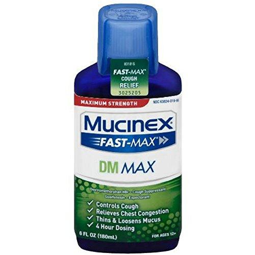 Mucinex Fast-Max Adult DM Expectorant and Cough Suppressant Liquid, 6 oz (Pack of 12)