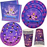 Gymnastics Birthday Party Pack Includes 24 9' Paper Plates 24 7' Plates 24 9 Oz Cups 50 Luncheon Napkins Gymnastic Supplies Decorations for Girls Gymnast Star Theme Tableware