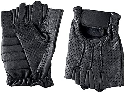 Black, X-Large Hot Leathers Leather Fingerless Vented Gloves