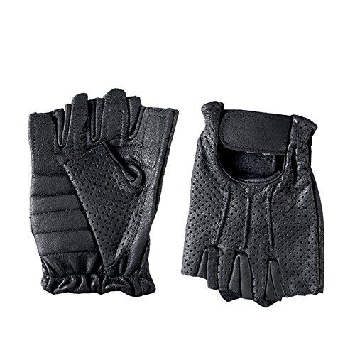 Hot Leathers Leather Fingerless Vented Gloves Black, Medium