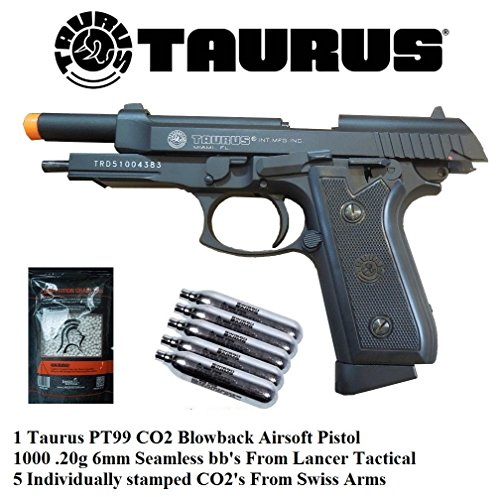 Taurus PT99 CO2 Full Metal blowback Airsoft Gun, Pistol Lancer Tactical and Swiss Arms combo