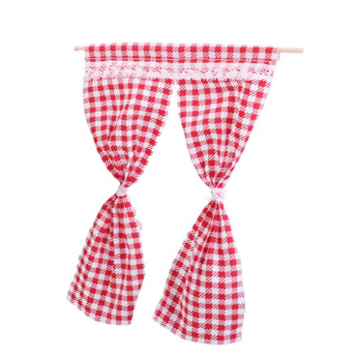 MagiDeal 1/12 Vest-pocket Curtain Handicrafts Model Dollhouse Decoration Red Grid
