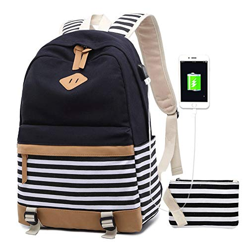 Women Laptop Backpack High School Bookbag 15.6 inch Casual Travel College Canvas with USB Charging Port (1-Black)