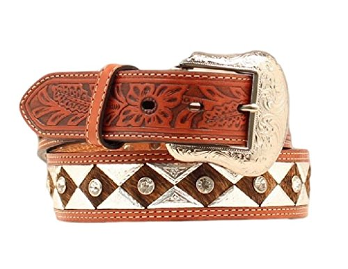 Nocona Men's Metal Diamond Center Bling, Tan, 34