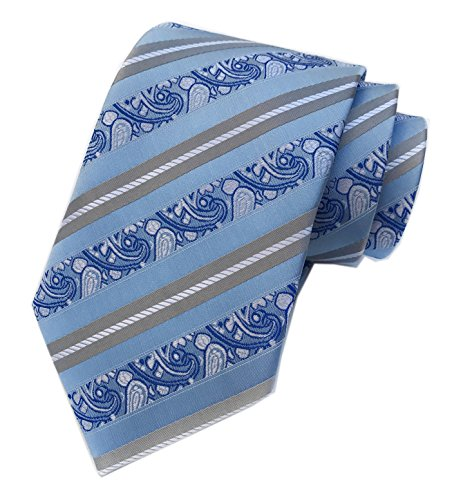 Men's Silk Slim Ties Sky Blue Grey White Stripe Paisley Neckties Valentine's day (Silk Stripe Tonal)