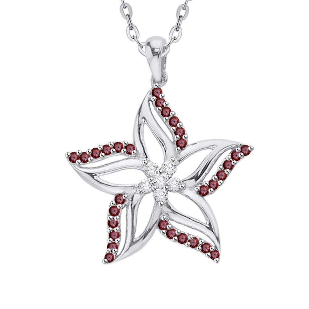 1//2 cttw, G-H, I2-I3 KATARINA Diamond and Gemstone Cluster Star Floral Pendant Necklace in Sterling Silver