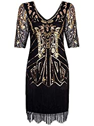 Gold 1920s V Neck Beaded Tassel Cocktail Dress With Sleeves
