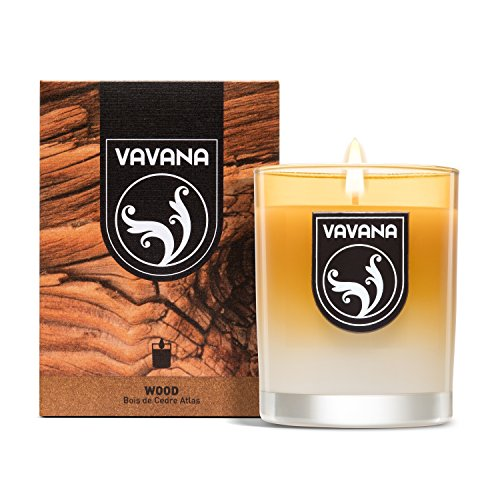 Vavana Aromatherapy Candles | Premium Scented Candles | Each Candle Set is Crafted with Perfection - Candle Jars, Hand Poured with Non-Toxic Mineral Wax & Cotton Wick (Bois DE CEDRE Atlas) (Cedar Candle Glass Pillar)