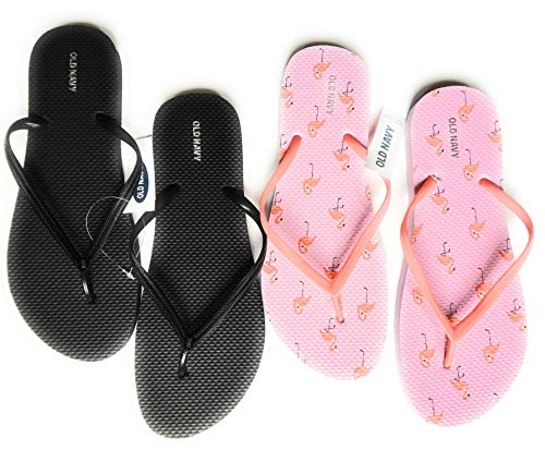 Old Navy Flip Flop Sandals for Woman, Great for Beach or Casual Wear (10, Flamingo and Black)]()