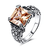 Merthus Antique Style Womens 925 Sterling Silver Created Morganite Floral Band Ring
