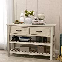 GLCHQ Multifunctional Retro Console Table Two Drawers and Twin Bottom Shelves Living Room Furniture Gap Tiers Shelf for Entryway hallways, Living Rooms,Your Office (Antique Gray)