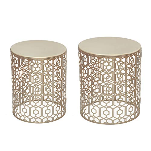 - Adeco Decorative Nesting Round Side End Accent Coffee Table, Side Table. Nightstand, Set of 2 (Gold)
