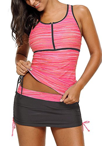 (luvamia Women's Two Pieces Print Zip Front Racerback Tankini Set Swimsuits with Skirt Pink Size Small (US 4-6))