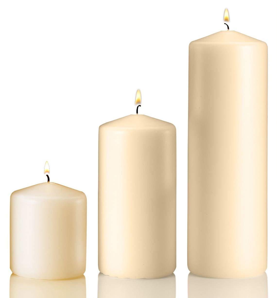 Light In The Dark Vanilla Pillar Candle Variety Set - 3 Vanilla Unscented Pillar Candles - Set Includes 3'', 6'' and 9'' Candle