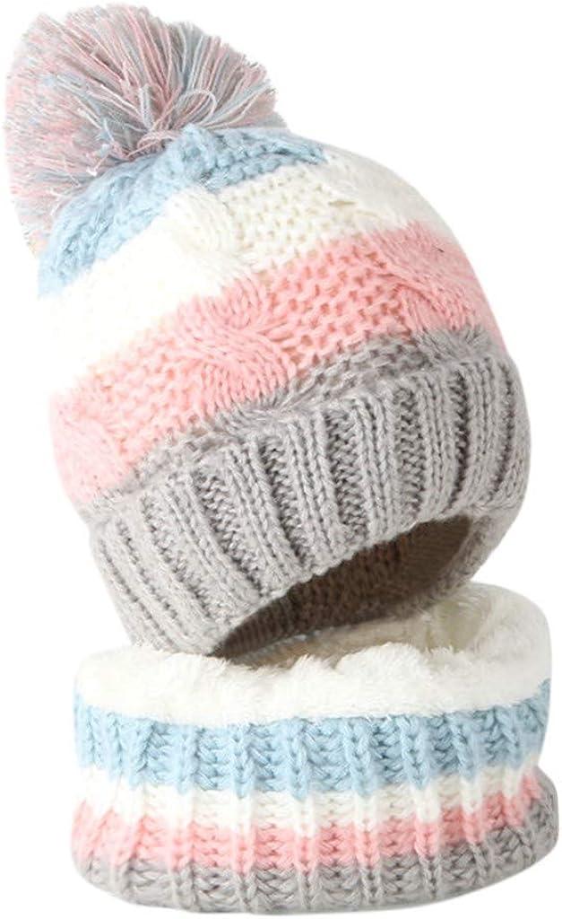 Fulltime Infant Toddler Kids Baby Winter Warm Knit Stripe Beanie Cap and Neck Warmer Scarf for Girls Boys TM Baby Winter Hats Scarfs Set