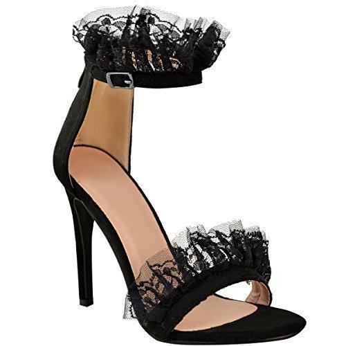 estilete para de de con Sandalias encaje Moda sedienta de los mujer Faux Fiesta tacón fiesta Volantes Suede Tamaño zapatos de volantes alto pOdqfPwd