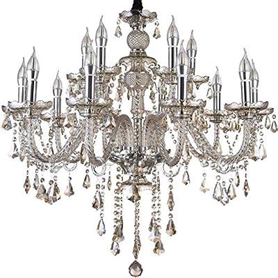 HOMWEERUN LED E12 LED 3 Brightness Cognac Colour Crystal Candle Chandelier Ceiling Lights Fixture Lamp Chandelier Pendant Lights Lighting