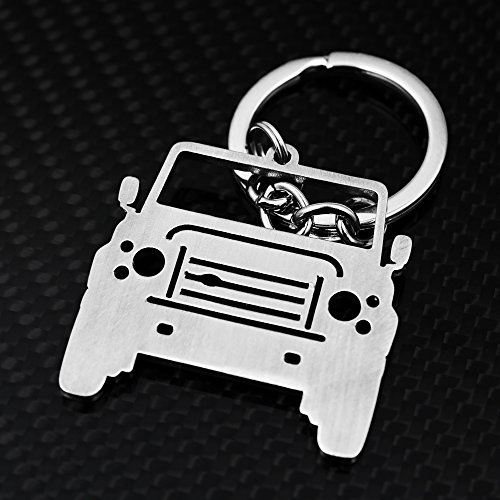Keychain Land Rover Range Rover With A Strap Key Chains Stainless Steel Holder Automobile (Defender Front Face)