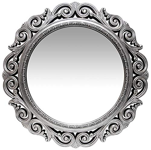 Infinity Instruments Antique Silver Wall Mirror 24 inch Large Round Mirror Living Room Bedroom Circular Mirror Ornamental Round Mirrors for Wall Decor Antique Silver Decorative Mirrors for Bedroom (Mirrors Ornamental)