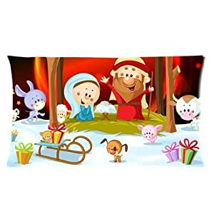 Christmas and Cute Animals Custom Rectangle Soft Pillow Case Standard Size 20x36