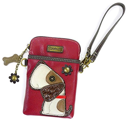 (Chala Crossbody Cell Phone Purse - Women PU Leather Multicolor Handbag with Adjustable Strap - Dog - Burgundy)