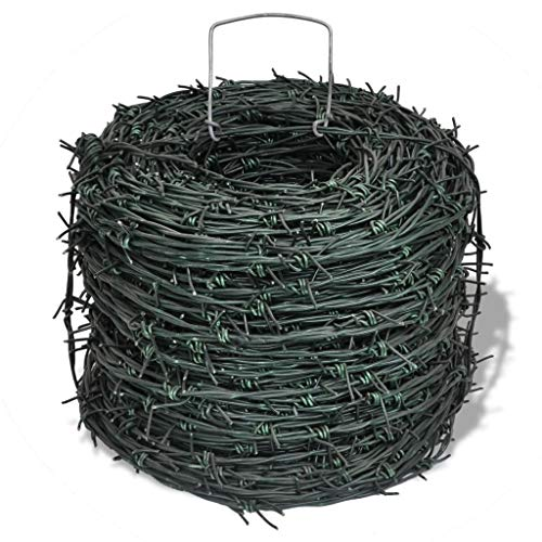 (Garden Fences Barbed Wire Entanglement Wire Green Wire Roll 328 ft)