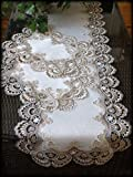 Galleria di Giovanni Table Runner Dresser Scarf Taupe Lace Antique White 56 Inch PLUS 2 Doilies 3 Piece Set Earth
