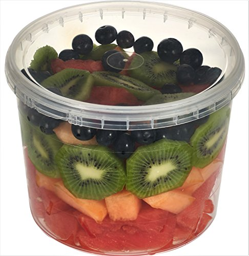 64 oz, Clear Plastic Deli Food Storage Containers with Lids Temper Evident Leak Proof Ultra Clear Microwavable and Freezable and Dishwasher Safe, Containers 64 oz - 12 Sets