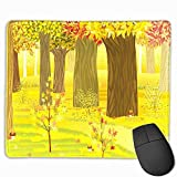 Mouse pad with Wrist Support,Fall Dreamy Fantasy Enchanted Forest Illustration Deciduous Trees Bushes