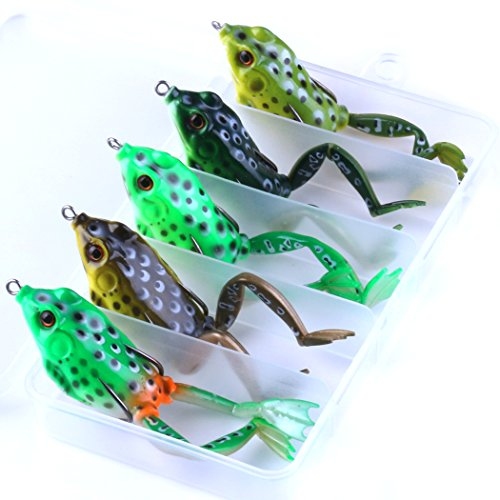 HENGJIA 5pcs Topwater Floating Frog Lures Kit for Bass perch snakehead Fishing Artificial Soft Plastic Bait Fishing Lures and Baits 5cm