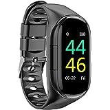 lacyie2019最新のスマートウォッチ M1 2 in 1スポーツカラースマートデュアルBluetoothヘッドセットブレスレット 血圧計リストバンド ワイヤレス 腕時計 M1イヤホン Bluetooth 5.0ヘッドセット内蔵 Android 5.0/iOS 8.0以上に対応 男性/女性 心拍数/血圧モニタリング用スマートブレスレット