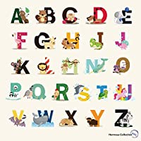 Fun Educational Alphabet with Animals for Baby Nursery...