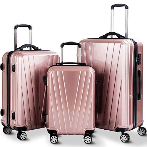 Goplus 3PCS Luggage Set Expandable Travel Suitcase Hardside Carryon Luggage Set w/TSA Lock, Weighting Handle (20/24/28) (Pink)