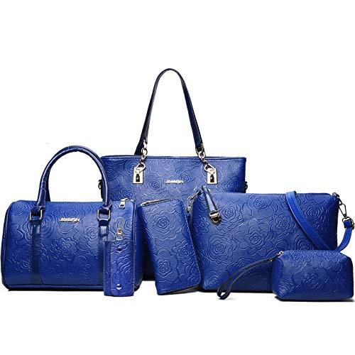 Mode Femmes à Dames Pièces Sac PU épaule La Des Ensembles Fourre Blue Main De tout Six Sacs Messenger Cuir AwXPqz