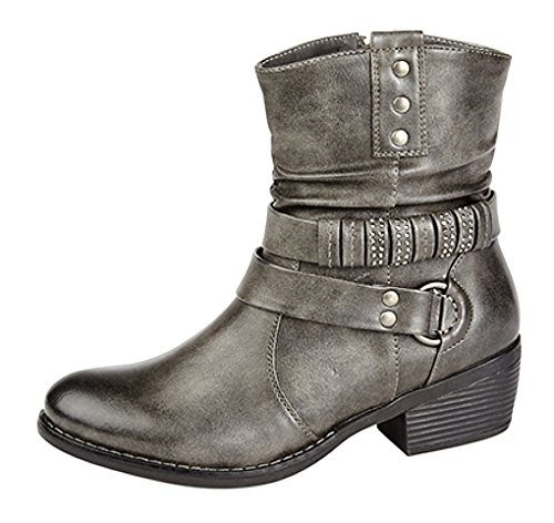 Ladies cremallera y arnés correa Tobillo Botas Distressed Grey